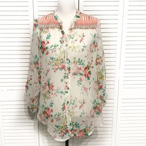 Fig and Flower Floral Long Sheer Button Down